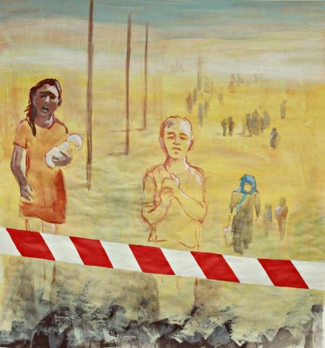 Flucht-09-Grenzerfahrung- 2017-Acryl-auf-Papier-126x120cm