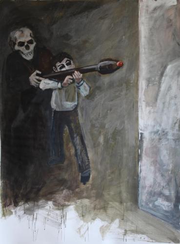 Flucht-10-Lernen-2017-Acryl-auf-Papier-150x113cm