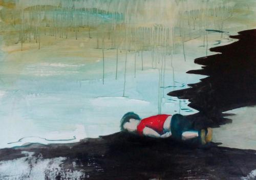 Flucht-11-ohne-Titel-2017-Acryl-auf-Papier-95x125cm
